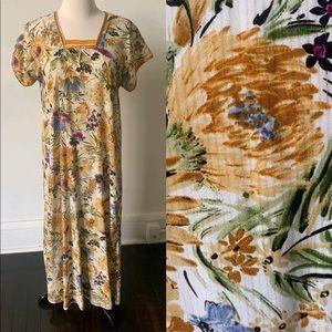 Vintage Floral Kaftan 70's Caftan Maxi Dress